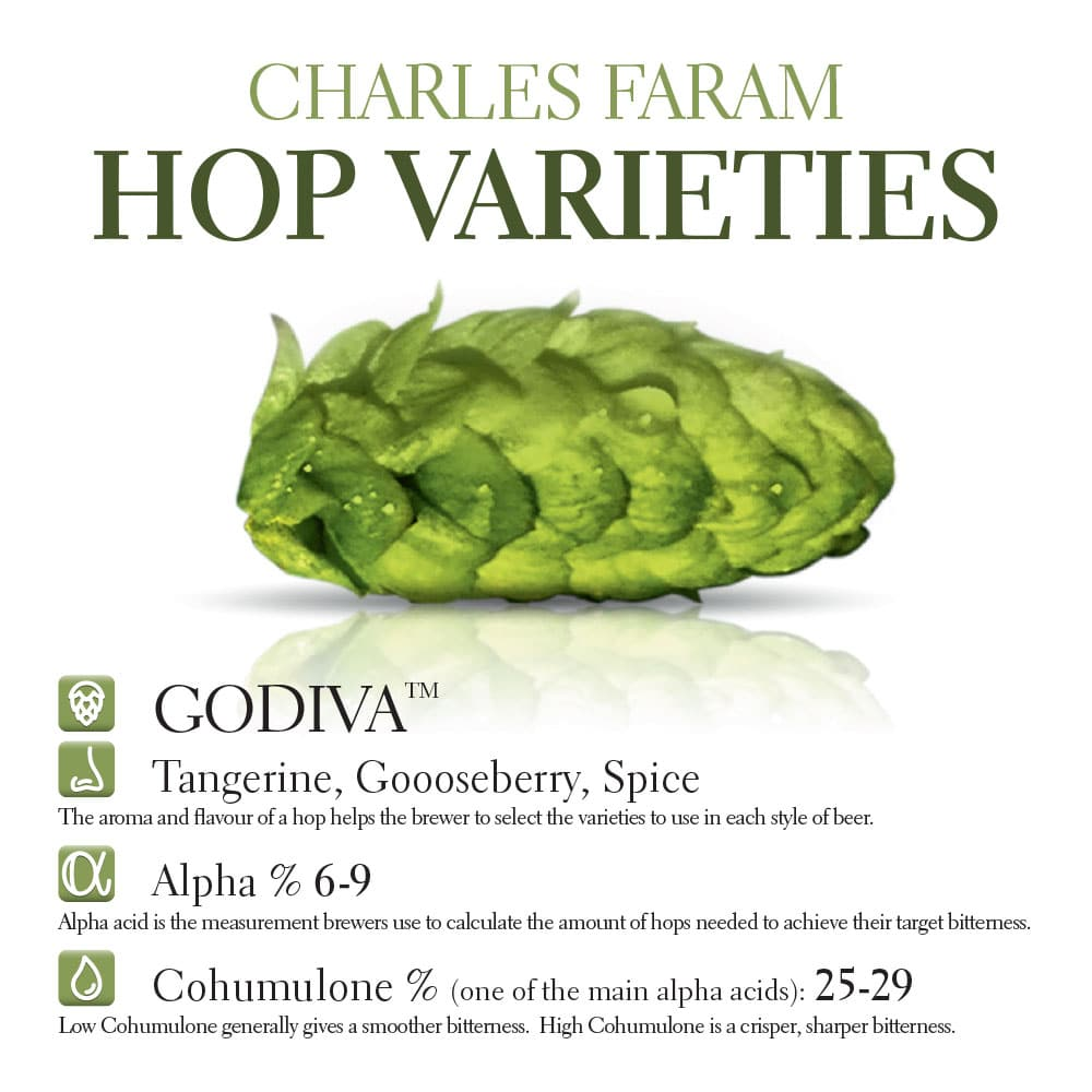 This photo shows the characteristics of Charles Faram's own Godiva hop variety
