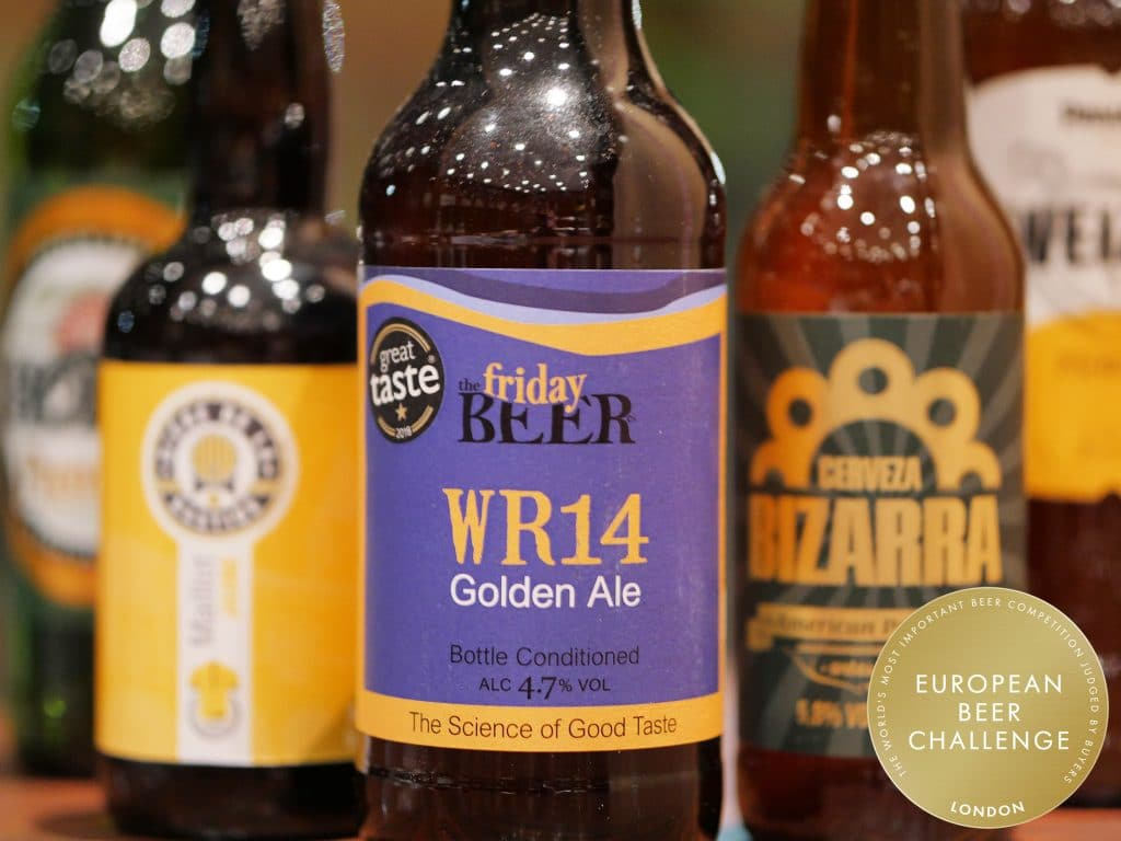 Photo of a bottle of WR14 golden ale